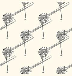 Hand drawn wooden honey dipper seamless patterm vector