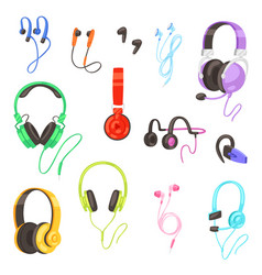 Headphone headset listening to stereo sound vector