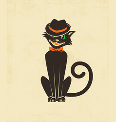Hipster halloween black cat in a fedora vector
