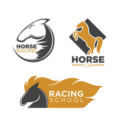 Horse racing club and school isolated logos set vector