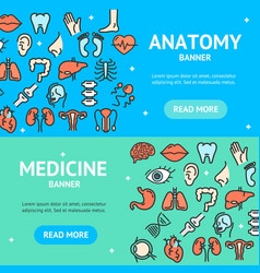 Human organs banner horizontal set vector