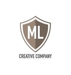 initial letter ml shield design loco concept vector image