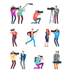journalist cameraman people make tv broadcast vector image