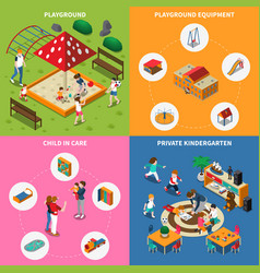 Kindergarten play ground isometric concept vector