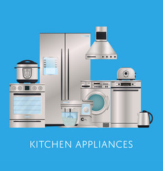 Kitchen electronic appliances retail poster vector