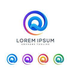 Letter q multicolored concept design vector
