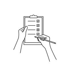 linear hand with checklist on clip board vector image