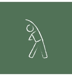 Man making exercises icon drawn in chalk vector image