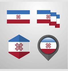 Mari-el flag design set vector