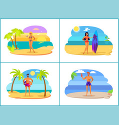 men and women on summer vacation near sea set vector image