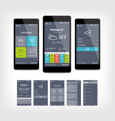Mobile app ui set of modern design vector