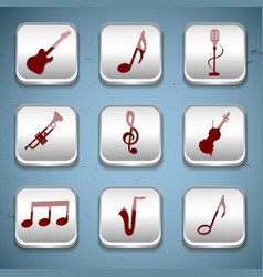 music buttons icon set vector image