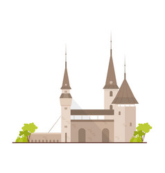 old european castle fortress or stronghold with vector image