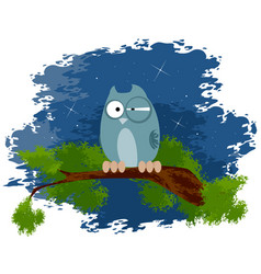 Owl on the branch vector