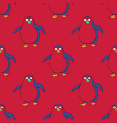 Pinguin walking seamless pattern vector
