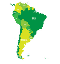 Political map of south america simple flat vector