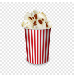 Popcorn paper glass mockup realistic style vector
