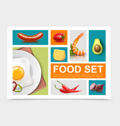 realistic food elements collection vector image