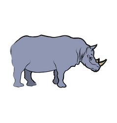 Rhino wild animal africa exotic mammal vector
