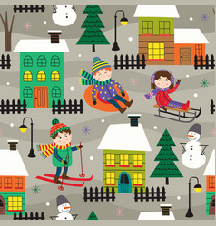 seamless pattern with houses and kids in winter vector image
