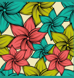 Seamless summer tropical background with exotic vector