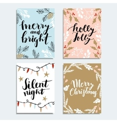 Set cute christmas invitations collection of vector