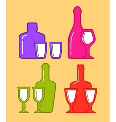 set isolated coorful bottles and glassses icons vector image