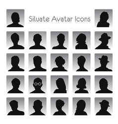 Set of silhouettes of avatar vector image