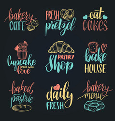 set of vintage bakery hand lettering vector image