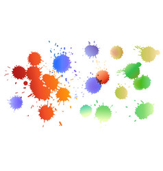 set of watercolor colored drops of ink expanding vector image