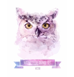 set of watercolor Cute owl vector image