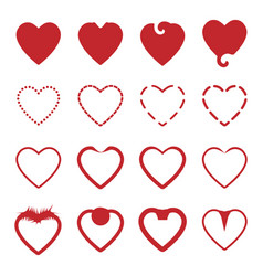 several style red heart icons set vector image