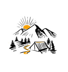 sketch nature with mountains and camping design vector image