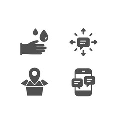 Sms package location and rubber gloves icons vector