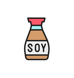 soy sauce asian seasoning flat color line vector image