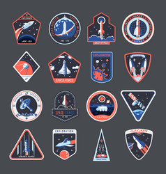 Space patches galaxy exploration spaceship badges vector