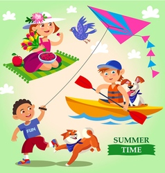 Spring and summer children vector