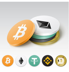 Stack cryptocurrency tokens vector