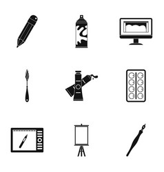 stationery icons set simple style vector image