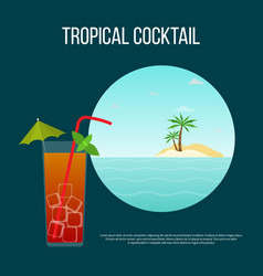 summer tropical cocktail background with palm and vector image