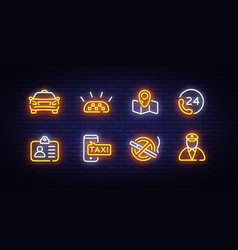 taxi icons neon set taxi service neon signs vector image