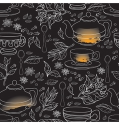 Tea Mint and Spice seamless pattern Hand drawn vector