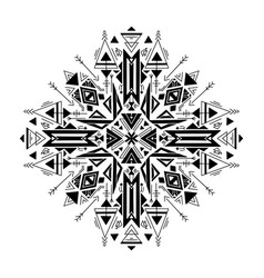 Tribal geometric mandala black native ornament on vector