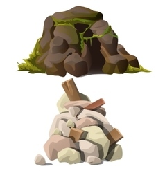 Two piles of stones with mold and wooden debris vector