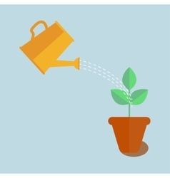 Watering can with plant vector image