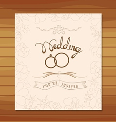 Wedding invitation floral retro vector