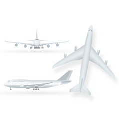 white airplane icon set on a white background in vector image