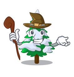 Witch realistic fir tree in snow mascot vector