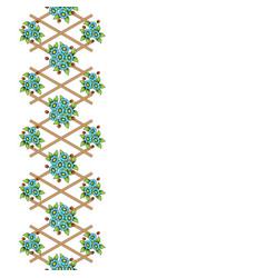 wooden lattice with color flowers vector image
