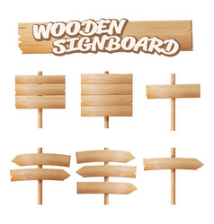 Wooden signboards set empty cartoon banner vector